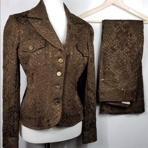 Vintage Cache Luxe Brown Lace Up 2 Piece Suit